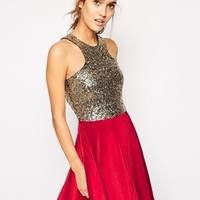 Club L Sequin Skater Dress With Velvet Skirt