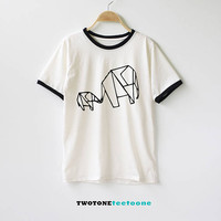 Elephant Shirt Origami Shirt Mother and Son Shirts TShirt T-Shirt T Shirt Tee