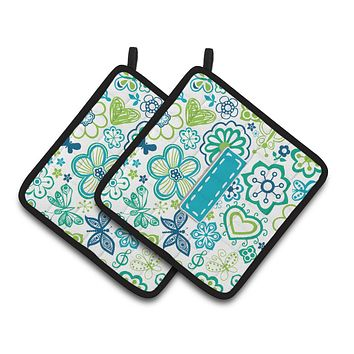 Letter I Flowers and Butterflies Teal Blue Pair of Pot Holders CJ2006-IPTHD