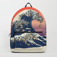 The Great Wave of Pug Backpack by huebucket