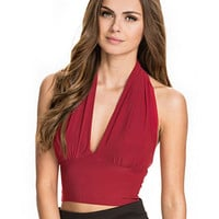 V-neck Halter Backless Bodycon Cropped Top