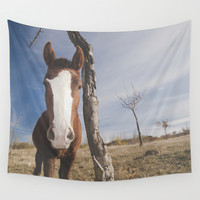 Free horse at the mountains Wall Tapestry by Guido Montañés