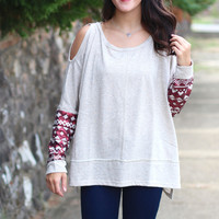 Cold Shoulder Sequin Sleeve Sweater {Oatmeal}
