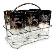 Silver Ombre Highball Glasses, Chrome Caddy, Rose Floral Pattern, Embossed