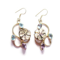 Mother of Pearl Topaz and Amethyst Dangle Flower Earrings