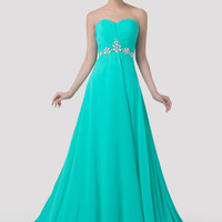 Turquoise Strapless Beaded Flounce Evening Dress