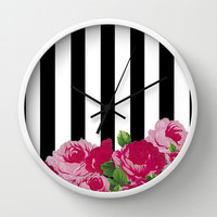 Bold Stripes with Flowers Wall Clock by dani