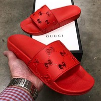 GG solid color hollow letters men's and women's casual slippers Shoes Red