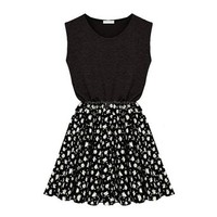 ZLYC Women Girls Sleeveless Casual Jersey Skater Dress with Contrast Floral Skirt