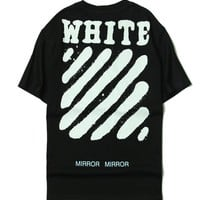 OFF WHITE Short Sleeve Summer Stripes Cotton T-shirts [11501025868]