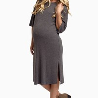 Grey-Slit-Side-Maternity-Dress