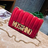 2017 autumn and winter new fashion small incense shoulder gold velvet chain chain buckle Messenger bag