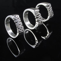 Small Medium Thick Hand Carved Ring With Name Or Initials ( personalized ) Silver 925