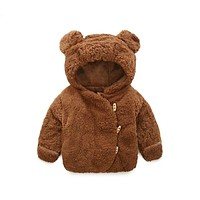 3M-3T Casual Winter Baby Girl Plush Jacket Kids Warm Clothes Baby Boy Lovely Bear Ears Children Birthday Gift Toddler