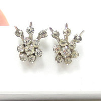 Vintage Rhinestone Earring Screw Back Design Small Simple Bridal Vintage Costume Jewelry CZ Diamond Glass Clear Designer Dangle
