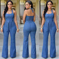 Top quality high design 2015 backless long jumpsuit overalls denim jumpsuit summer jumpsuit women