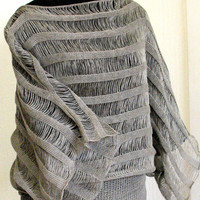 Linen Top Tunic Sweater Clothing Natural Grey knitted and Lace