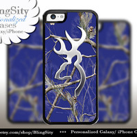 Browning Cutter Blue Camo iPhone 4 5 5C 6 PLUS Case Cover Rubber Silicone Not actual Chrome Country