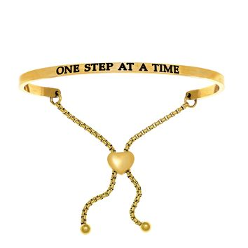 Intuitions Stainless Steel ONE STEP AT A TIME Diamond Accent Adjustable Bracelet