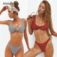 HolaSukey 2018 Sexy New Bikini Set Retro Micro Bikinis Solid Swimwear Women Bandage Swimsuits Summer Bathing Suits Biquini
