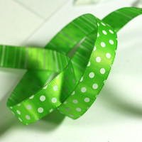 Green Ribbon: Solid Green 2 sided Ribbon with Green polka dots on one side and green stripes on the other - 3 yards - 1/2 inch wide