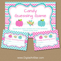 Gender Reveal Game - Gender Reveal Candy Guessing Game - Little Pumpkin Guess How Many Game - Printable Baby Reveal Activity - Pink and Aqua