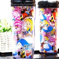 Disney Alice in Wonderland Cheshire Cat Plastic Double Wall Thermos Travel Mug Coffee Tea Cup Lid 13-ounce