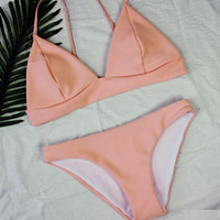 Pink Bikini Set Beach Swimsuit