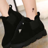 Black Suedette Elastic Side Chunky Heel Ankle Boots