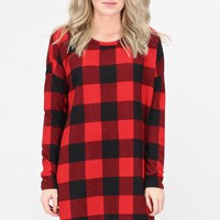 Checked Buffalo Plaid Knit Tunic {Red/Black}
