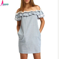 Gagaopt 2016 100% Cotton Summer Sexy Slash & off Shoulder Party Dress with Ruffles Sleeve Women Dresses