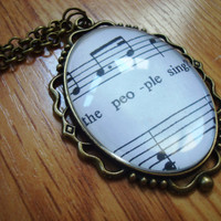 Les Miserables sheet music necklace (Do You Hear the People Sing, option 2)