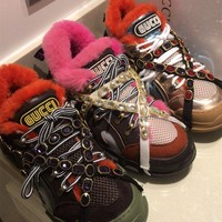 GUCCI Flashtrek wool sneaker with crystals