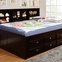Full Size Bookcase Captains Day Bed in Espresso 2923 | Bedroom Furniture for Kids and Teens | Discovery World Furniture