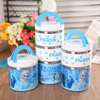 High Quality Insulated Vacuum Stainless Steel Lunch Box With Handle Bento Food Picnic Containers For Kid Cartoon TablewareKC1308