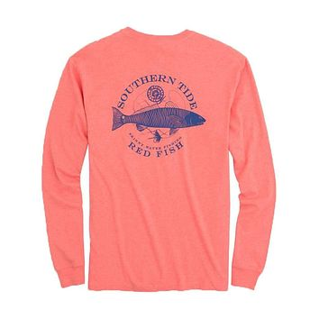 Fish Series Red Fish Heathered Long Sleeve T-Shirt in Heather Sea by Southern Tide