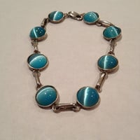 """Cat's Eye Sterling Bracelet 7.5"""" Turquoise Blue Cats 925 Silver Vintage Southwestern Jewelry Mother's Valentine's Birthday Anniversary Gift"""