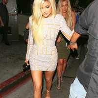 Kylie Jenner Sexy Mini Celebrity Dresses 2017 Full Sleeve Pattern Sequins Prom Dresses Backless Sexy Party red carpet Gowns