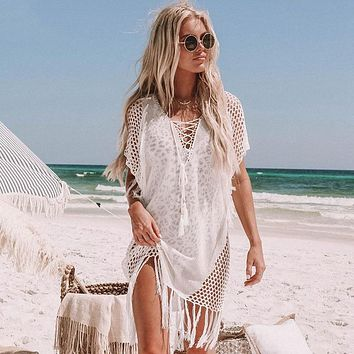 Knitted Hollow Out Tassel Beach Cover Up Dress Tunics