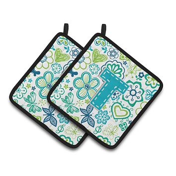 Letter T Flowers and Butterflies Teal Blue Pair of Pot Holders CJ2006-TPTHD
