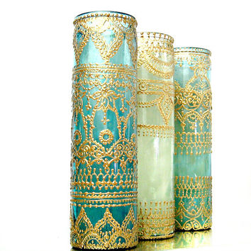 Intricately Designed, Hand Painted and Poured Tall Aromatherapy Container Candle