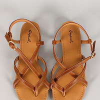 Bamboo Leatherette Strappy Sling Back Thong Sandal