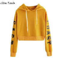 omen Autumn Winter Long Sleeve Loose Short Hoodies Crop Tops Letter Print Casual Outwear Pullover Sweatshirts Ropa Mujer#GHC