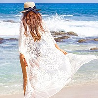 New Women Lace Embroidered Beach Holiday Sunscreen Shirt Long Cardigan Blouse
