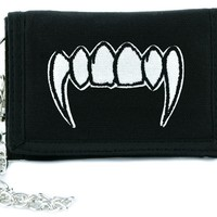 Vampire Fangs Teeth Tri-fold Wallet w/ Chain Occult Clothing