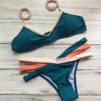 Three cross contrast dark green sexy cute two piece bikinis swimwear bathsuit