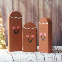 Wooden Gingerbread Man - Hand Painted Gingerbread Man