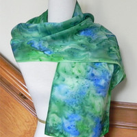 Vibrant blue and green silk satin scarf, hand painted long silk scarf #381, ready to ship