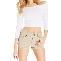 Dollhouse Womens Juniors High Waist Cuffed Casual Shorts