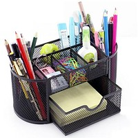 Home Office Multifunction Pen Holder Desk Organizer Box With Drawer Metal Desk Accessories Pen & Pencil Container